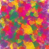 Kaos av färgrika hjärtor royaltyfri illustrationer