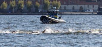 Kaos av simningarmar i vattnet och fartygen Royaltyfri Foto