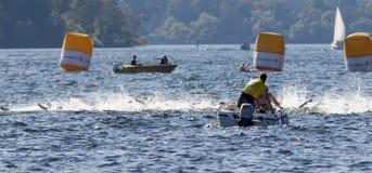 Kaos av simningarmar i vattnet och fartygen Arkivfoton