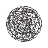 Kaos trasslar cirkelklotterlinjen kaotisk tilltrasslad symbol för trådbollvektor till vektor illustrationer