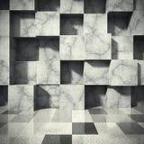 Kaotisk betong skära i tärningar kvarterväggen Tom inre för mörkt rum Ar Fotografering för Bildbyråer