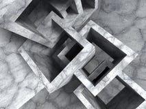 Kaotisk kubkonstruktion för abstrakt konkret arkitektur Arkivbild
