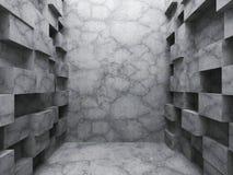 Kaotisk kubkonstruktion Tom inre för mörkerbetongrum Royaltyfri Foto