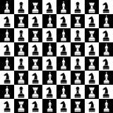 Kaotisk modell för sömlös vektor med svartvita schackstycken Serie av dobbel- och dobblerimodeller Royaltyfri Foto