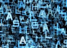 Kaotiskt flyg av många abstrakta blåa alfabetbokstäver royaltyfri illustrationer