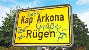 Kap Arkona, σημάδι με τους χαιρετισμούς Στοκ Εικόνα