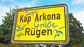 Kap Arkona, Sign with greetings Stock Image
