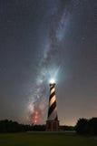 Kap Hatteras Leuchtturm unter der Milchstraße-Galaxie lizenzfreies stockfoto