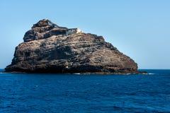 Kap Verde ö med fyren Arkivfoto
