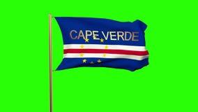 Kap-Verde Flagge mit dem Titel, der in den Wind wellenartig bewegt stock video