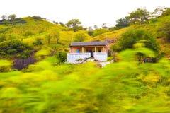 Kap Verdeberglandskap, litet hus på det vulkaniska och fertila landskapet, Santiago Island fotografering för bildbyråer
