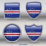 Kap Verdeflagga i samling för 4 former med den snabba banan Arkivfoto
