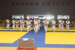 Kapacitet-öppning ceremoni--Den åttonde konkurrensen för GoldenTeam koppTaekwondo vänskapsmatch Arkivbilder