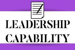 Kapacitet för ledarskap för handskrifttexthandstil Begreppsbetydelse en vilken ledare kan bygga kapacitet att leda effektivt vektor illustrationer