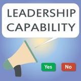 Kapacitet för ledarskap för handskrifttexthandstil Begreppsbetydelse en vilken ledare kan bygga kapacitet att leda effektivt royaltyfri illustrationer