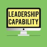 Kapacitet för ledarskap för ordhandstiltext Affärsidé för en vilken ledare kan bygga kapacitet att leda effektivt stock illustrationer