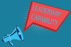 Kapacitet för ledarskap för ordhandstiltext Affärsidé för en vilken ledare kan bygga kapacitet att leda effektivt royaltyfri illustrationer
