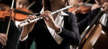 Kapacitet för symfoniorkester: flöjtistnärbild arkivbilder