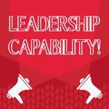 Kapacitet f?r ledarskap f?r ordhandstiltext Aff?rsid? f?r att kapacitet ska p?verka f?r att leda andra lyckat som ?r tomma royaltyfri illustrationer