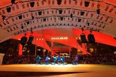 Kapacitet på den utomhus- teatern Singapore för promenad Arkivfoto
