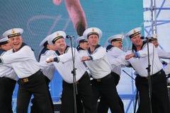 Kapaciteten av dansare, kör och solister av helheten av sången och dans av Black Sea den sjö- flottan (Sevastopol, Krim Royaltyfria Foton