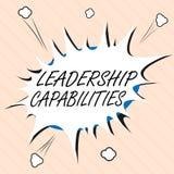 Kapaciteter för ledarskap för ordhandstiltext Affärsidé för uppsättning av kapacitetsförväntningar en ledare Competency royaltyfri illustrationer