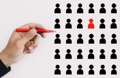 Kapacitets- och ledarskapbegrepp med chefen eller ceo valde personaltecknet Näringslivsutveckling och personalresursledning stock illustrationer