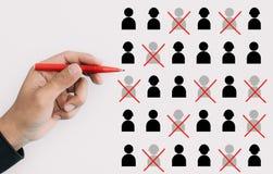 Kapacitets- och personalresursledningbegrepp med chefen eller ceo valde personaltecknet för byggandelag Näringslivsutveckling o royaltyfri illustrationer