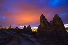 Kapadokian rocks. Against the sunset background Royalty Free Stock Photos