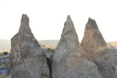 Kapadokya Capadoccia geografi och arkitektur Turkiet Asien arkivfoton