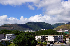 Kapahulu town with mountains in distance Royalty Free Stock Photo