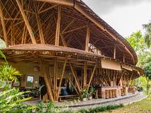 Kapal Bambu Restaurant in Ecolodge Bukit Lawang, Indonesia. Kapal Bambu Restaurant located in Ecolodge Bukit Lawang, Indonesia. The restaurant is constructed royalty free stock photography