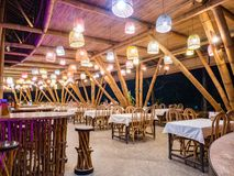 Kapal Bambu Restaurant in Ecolodge Bukit Lawang, Indonesia. Kapal Bambu restaurant located at the first floor and also with bar. The restaurant is constructed Royalty Free Stock Photography