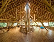 Kapal Bambu Restaurant in Ecolodge Bukit Lawang, Indonesia. Kapal Bambu second floor for rest and fun. The restaurant is constructed from natural and sustainable Royalty Free Stock Photography