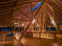 Kapal Bambu Restaurant in Ecolodge Bukit Lawang, Indonesia. Kapal Bambu second floor for rest, using hammock, laying in a sofa. The restaurant is constructed Stock Image