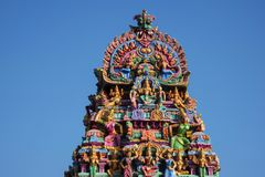 Kapaleeshwarar寺庙的被雕刻的门面,麦拉坡,金奈,泰米尔纳德邦,印度 库存照片