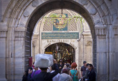 Kapalicarsi Entrance to the Grand Bazaar in Istanbul. ISTANBUL, TURKEY – APRIL 26: Entrance to the busy Grand Bazaar in Istanbul with tourists and local Stock Photos