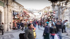 Kapalicarsi in Istanbul. People in front of the entrance to the Grand Bazaar in Istanbul, the biggest covered market on the world stock footage