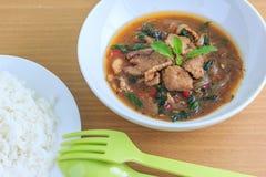 Kapao mu (thailändsk mat) Royaltyfri Fotografi