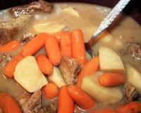Kapcanu garnka wołowiny gulasz z marchewkami, grulami i chudym mięsem w gęstym bogatym sosie, Obrazy Royalty Free