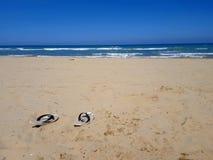 Kapcie na opustoszałej plaży Zdjęcia Royalty Free