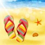 Kapcie na plażowym lecie Ilustracja Wektor