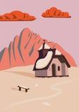 Kapel in de berg bij zonsondergang Stock Foto