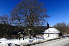 Kapel, de winterlandschap, Zelezna Ruda, Tsjechische Republiek Royalty-vrije Stock Fotografie
