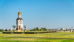 Kapel op de militaire herdenkingsbegraafplaats op Mamayev Kurgan in Volgograd, Rusland stock afbeeldingen