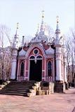 Kapel van Sinterklaas bij de Transfiguratiebegraafplaats, Gotische architectuur van Moskou De Nikolskayakapel werd gebouwd in 180 stock fotografie