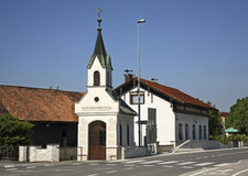 Kapell av St jungfruliga Mary i Dobova slovenia Fotografering för Bildbyråer