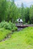 Kapell på källan av Volgaet River, Volgoverkhovye, Tver region Arkivbild