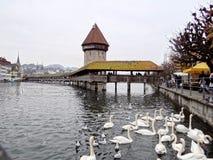 Kapellbro i Lucerne royaltyfri bild