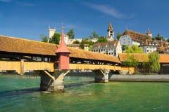 Kapellbro i Lucerne Arkivfoton